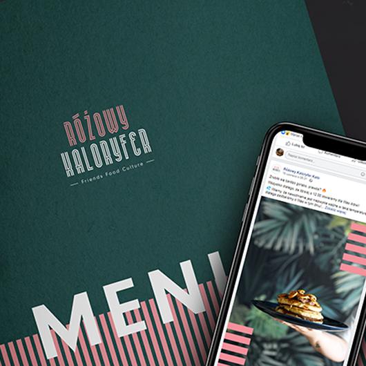Mockup przedstawiający menu i zrzut ekranu z mediów społecznościowych Różowego Kaloryfera