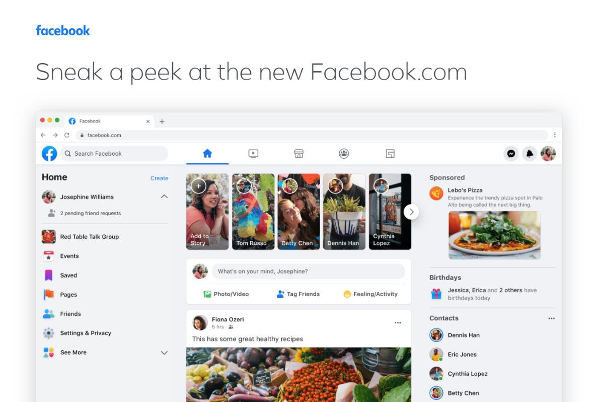 Wizualizacja nowego wyglądu Facebooka